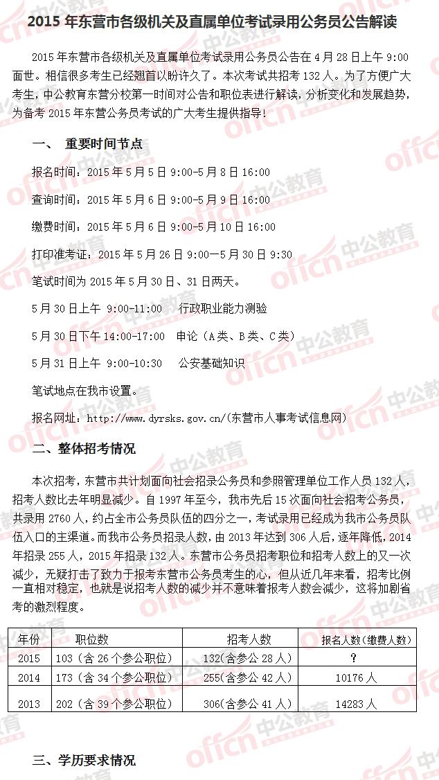 2015年山东省东营市公务员考试公告解读_中公