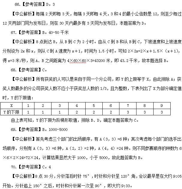 2016国家公务员考试行测考题 答案解析